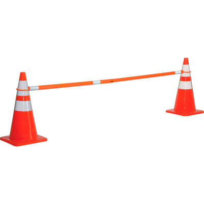 Global Industrial Retractable Cone Bar, Orange With Reflective Tape, 5 ' to 8'