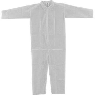Global Industrial™ Disposable Polypropylene Coverall, Open Wrists/Ankles, White, Large, 25/Case