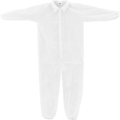 Global Industrial™ Disposable Polypropylene Coverall, Elastic Wrists/Ankles, WHT, LRG, 25/Case