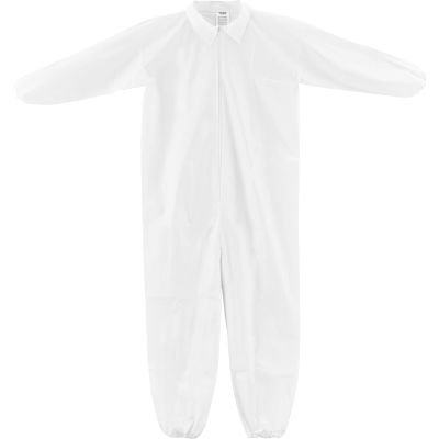 Global Industrial™ Disposable Microporous Coverall, Elastic Wrists/Ankles, WHT, Large, 25/Case