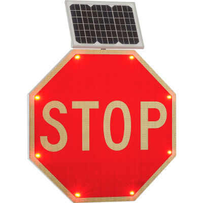 """Global Industrial™ 30"""" Solar Powered Flashing LED Stop Sign, Octagon"""