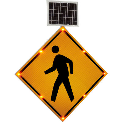 "Global Industrial™ 30"" Solar Powered Flashing LED Pedestrian Crossing Sign,  Diamond"