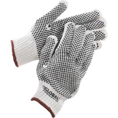 Global Industrial™ PVC Dot Knit Gloves, Double-Sided, Black, Large, 1-Dozen