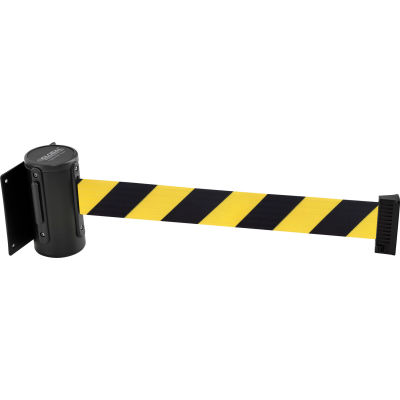 Global Industrial™ Wall Mount Retractable Belt Barrier, Black Mount, 7-1/2' L Black/Yellow Belt