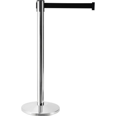"Global Industrial™ Crowd Control Stanchion, 40"" Stainless Steel Post, 7-1/2' L Black Belt - Pkg Qty 2"