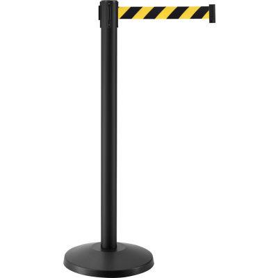 "Global Industrial™ Retractable Belt Barrier, 40"" Black Post, 7-1/2' Black/Yellow Belt - Pkg Qty 2"