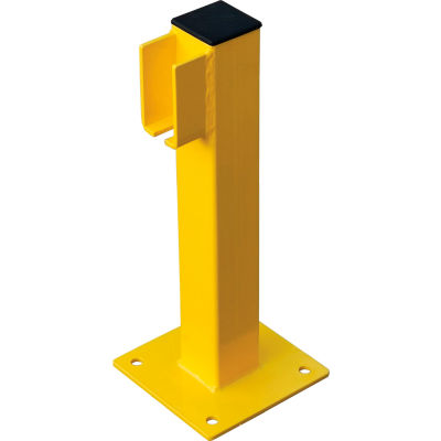 """Global Industrial™ Steel Lift-Out Guard Rail End Post, Single-Rail, 20""""H, Yellow"""