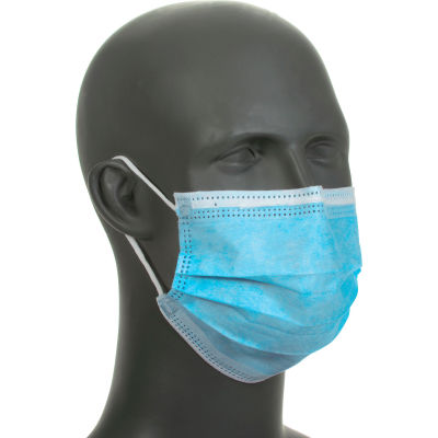 Disposable Face Mask With Ear Loops, Blue, 3-Ply, 50/Box
