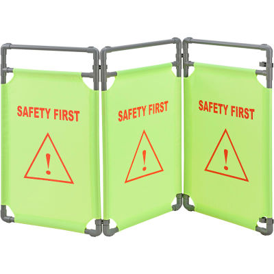 """Global Industrial™ """"Safety First"""" Folding Fabric Barrier, Lime Green, English"""
