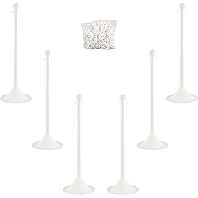 "Mr. Chain 71001-6 Plastic Stanchion Kit, White, 6pk 50' of 2"" Chain, 2"" Pole, 14"" Base, 41""H"