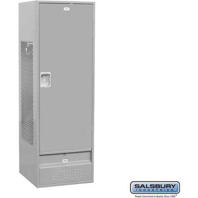 "Salsbury Gear Metal Locker 71024 - Solid Door 24""W x 24""D x 72""H Gray Unassembled"