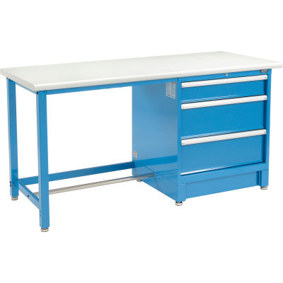 "Global Industrial™ 72""Wx30""D Modular Workbench W/ 3 Drawers, Plastic Laminate Safety Edge, Blue"