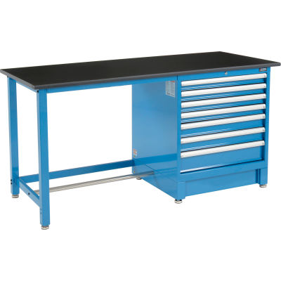 "Global Industrial™ 72""Wx30""D Modular Workbench with 7 Drawers, Phenolic Resin Safety Edge, Blue"