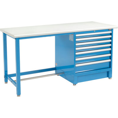 """Global Industrial™ 72""""Wx30""""D Modular Workbench W/ 7 Drawers, Plastic Laminate Safety Edge, Blue"""