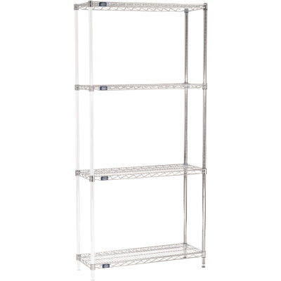 "Nexel® Chrome Wire Shelving Add-On - 36""W x 12""D x 86""H"