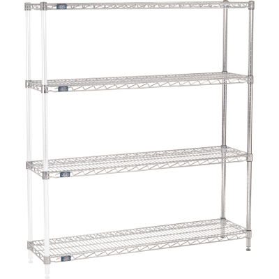 "Nexel® Chrome Wire Shelving Add-On - 48""W x 12""D x 63""H"