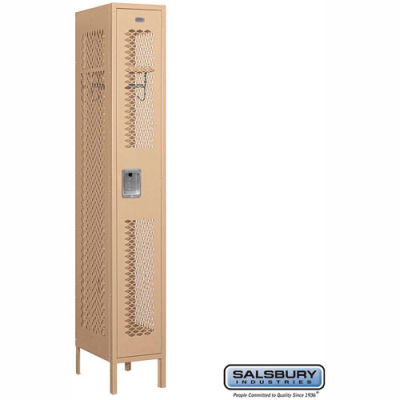 "Vented Metal Locker 71168 - Single Tier 1 Wide 12""W x 18""D x 72""H Tan Assembled"