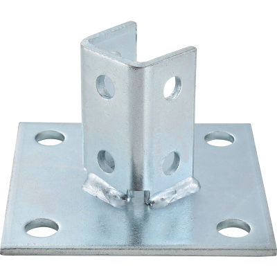 "Global Industrial 1-5/8"" Post Base P2072asqeg, Electro-Galvanized, Sq  - Pkg Qty 2"