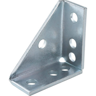 """Global Industrial 1-5/8"""" 90° Gusseted Fitting P2484eg, 7 Hole, Electro-Galvanized - Pkg Qty 5"""