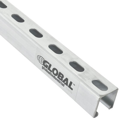 Global Industrial™ 8Ft Slotted Strut Channel 1-5/8x1-5/8 12Ga. Pre-Galvanized Zinc Plated Qty 4 - Pkg Qty 4