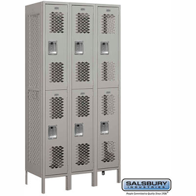 """Double Tier 6 Door Vented Metal Locker, 12""""Wx18""""Dx36""""H, Gray, Unassembled"""