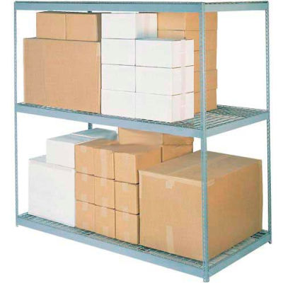 Global Industrial™ Wide Span Rack 96Wx36Dx96H, 3 Shelves Wire Deck 800 Lb Cap. Per Level, Gray
