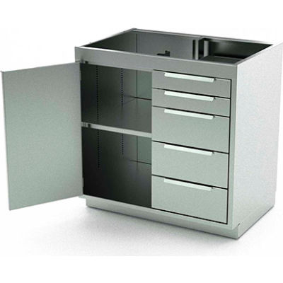 """AERO Stainless Steel Base Cabinet BC-2004, 1 Hinged Door, 1 Shelf, 5 Drawers, 48""""W x 21""""D x 36""""H"""