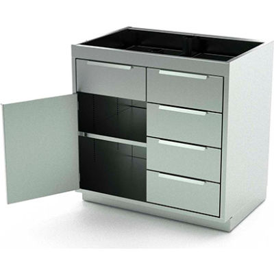 """AERO Stainless Steel Base Cabinet BC-2203, 1 Hinged Door, 1 Shelf, 5 Drawers, 48""""W x 21""""D x 36""""H"""
