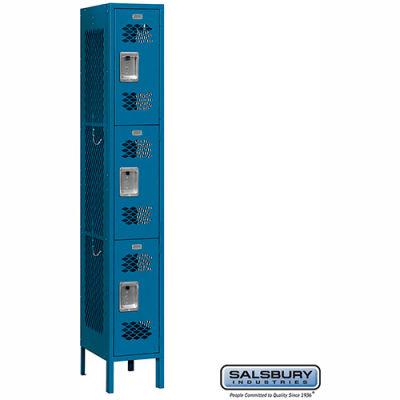 "Vented Metal Locker 73162 - Triple Tier 1 Wide 12""W x 12""D x 24""H Blue Unassembled"