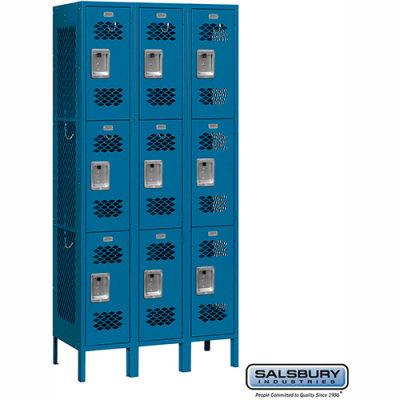 "Vented Metal Locker 73362 - Triple Tier 3 Wide 12""W x 12""D x 24""H Blue Assembled"