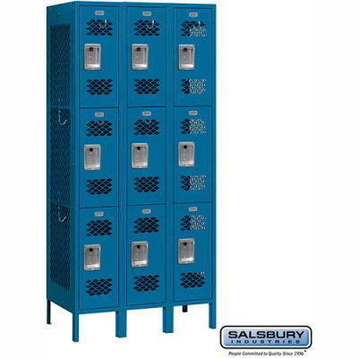 "Vented Metal Locker 73365 - Triple Tier 3 Wide 12""W x 15""D x 24""H Blue Unassembled"