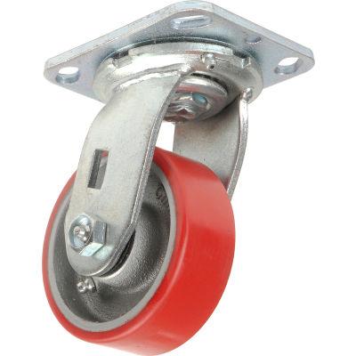 "Global Industrial™ Heavy Duty Swivel Plate Caster, 4"" Polyurethane Wheel, 600 Lb. Capacity"