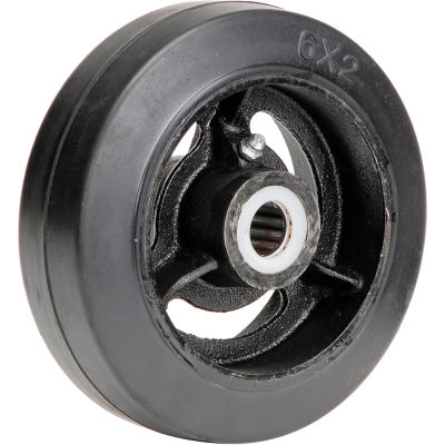 "Global Industrial™ 6"" x 2"" Mold-On Rubber Wheel - Axle Size 3/4"""