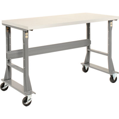 Global Industrial™ 72 x 36 Mobile Fixed Height Flared Leg Workbench - Laminate Safety Edge Gray