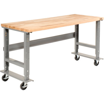 Global Industrial™ 48x30 Mobile Adjustable Height C-Channel Leg Workbench - Maple Square Edge
