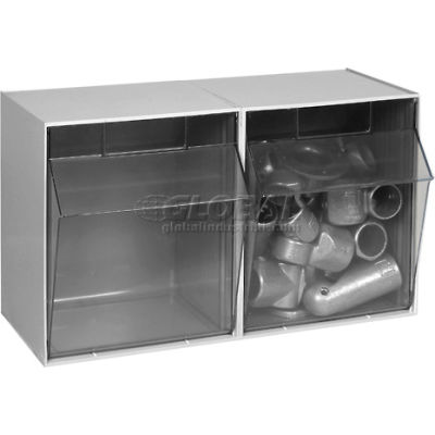Quantum Tip Out Storage Bin QTB302 - 2 Compartments Gray