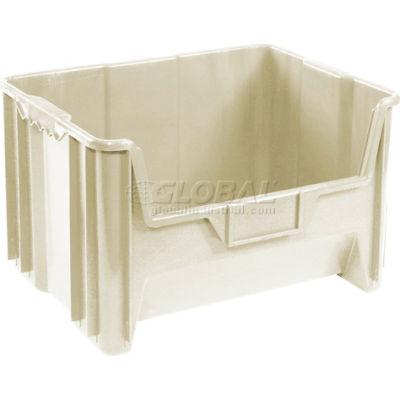 "Global™ Plastic Hopper Bin 19-7/8""W x 15-1/4""D x 12-7/16""H Beige - Pkg Qty 3"