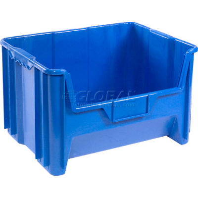 "Global Industrial™ Plastic Hopper Bin 19-7/8""W x 15-1/4""D x 12-7/16""H Blue - Pkg Qty 3"