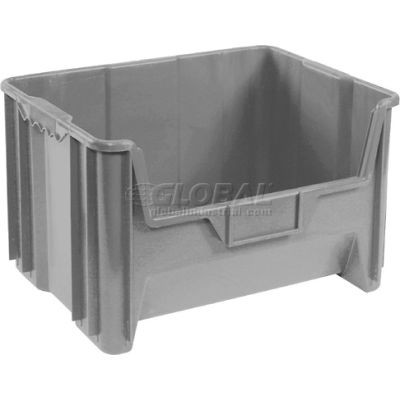 "Global Industrial™ Plastic Hopper Bin, 19-7/8""W x 15-1/4""D x 12-7/16""H, Grey - Pkg Qty 3"