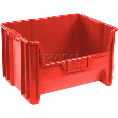 "Global Industrial™ Plastic Hopper Bin 19-7/8""W x 15-1/4""D x 12-7/16""H Red - Pkg Qty 3"