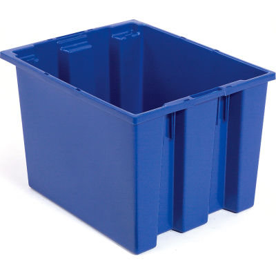 Global Industrial™ Stack and Nest Storage Container SNT240 No Lid 23-1/2 x 15-1/2 x 12, Blue - Pkg Qty 3
