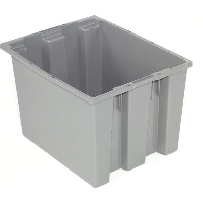 Global Industrial™ Stack and Nest Storage Container SNT240 No Lid 23-1/2 x 15-1/2 x 12, Gray - Pkg Qty 3