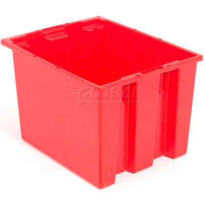Global Industrial™ Stack and Nest Storage Container SNT240 No Lid 23-1/2 x 15-1/2 x 12, Red - Pkg Qty 3