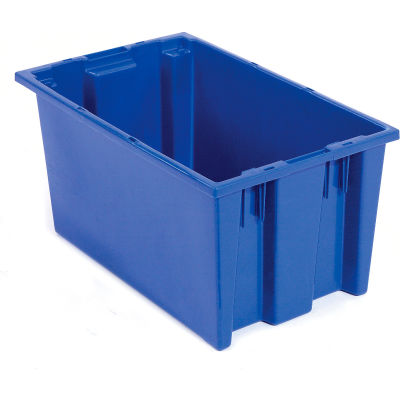 Global Industrial™ Stack and Nest Storage Container SNT180 No Lid 18 x 11 x 6, Blue - Pkg Qty 6