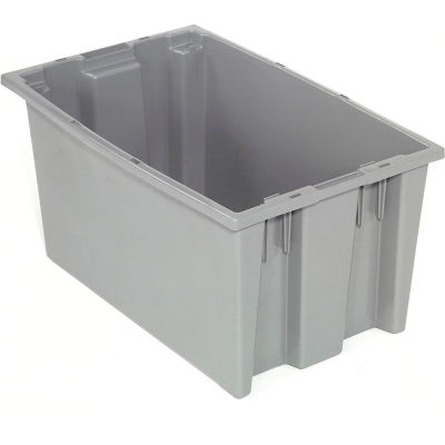 Global Industrial™ Stack and Nest Storage Container SNT200 No Lid 19-1/2 x 13-1/2 x 8, Gray - Pkg Qty 6