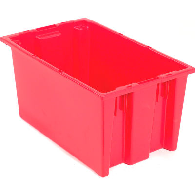 Global Industrial™ Stack and Nest Storage Container SNT185 No Lid 18 x 11 x 9, Red - Pkg Qty 6