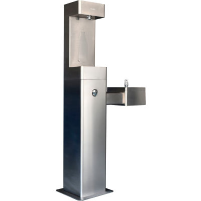 Global Industrial™ Outdoor Bottle Filling Station w/ Drinking Fountain, SS