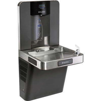 Global Industrial™ Wall Mount Water Bottle Refilling Station, Filtered, Graphite/Stainless