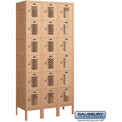 "Vented Metal Locker 76365 - Six Tier 3 Wide 12""W x 15""D x 12""H Tan Assembled"