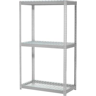 "Expandable Starter Rack 48""W x 24""D x 84""H With 3 Level Wire Deck 1500 lb. Cap Per Deck - Gray"